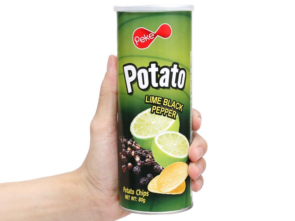 Snack khoai tây vị chanh tiêu đen Peke Potato Chips lon 80g 4