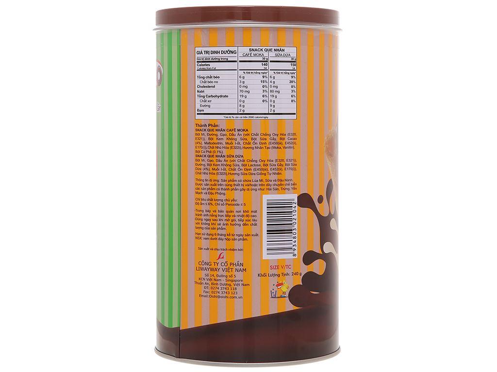 Snack que nhân cà phê moka và sữa dừa Akiko Oishi lon 240g 2