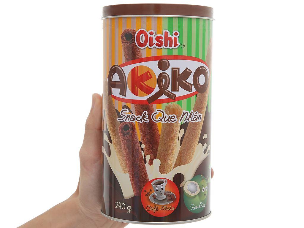 Snack que nhân cà phê moka và sữa dừa Akiko Oishi lon 240g 4