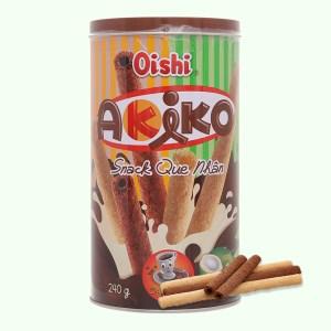 Snack que nhân cà phê moka và sữa dừa Akiko Oishi lon 240g