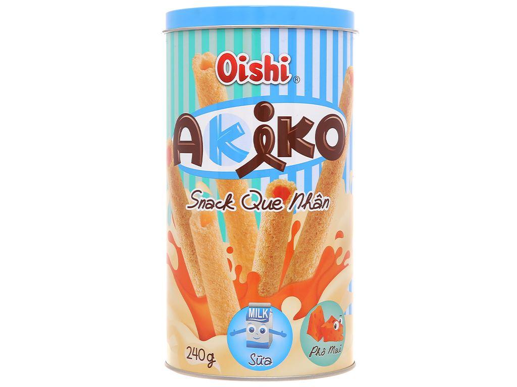 Snack que nhân sữa và phô mai Akiko Oishi lon 240g 1