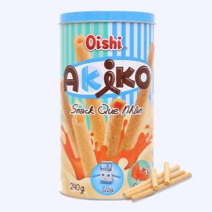 Snack que nhân sữa và phô mai Akiko Oishi lon 240g