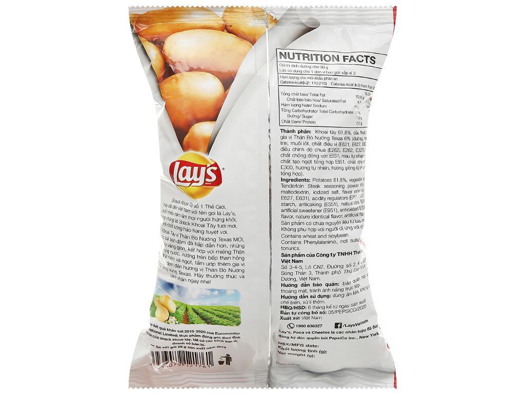 Snack khoai tây Lay's Wavy vị thăn bò nướng Texas gói 56g 2