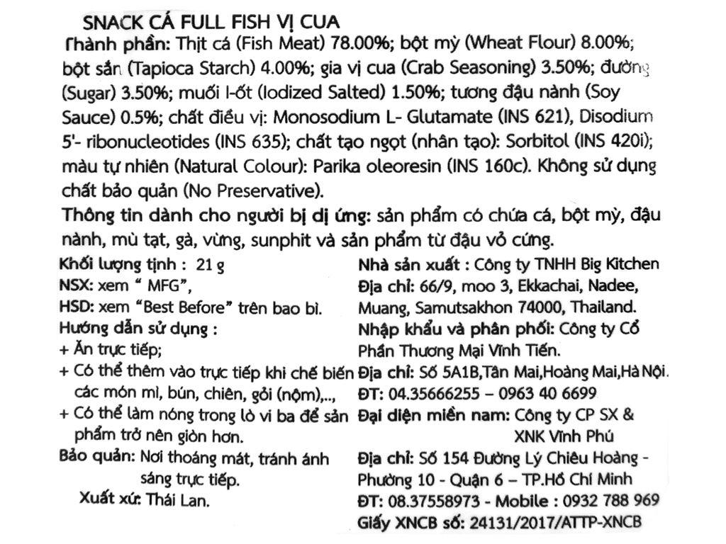 Snack vị cua Cá Full Fish gói 21g 3