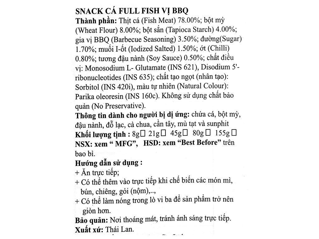 Snack vị bbq Cá Full Fish gói 21g 3