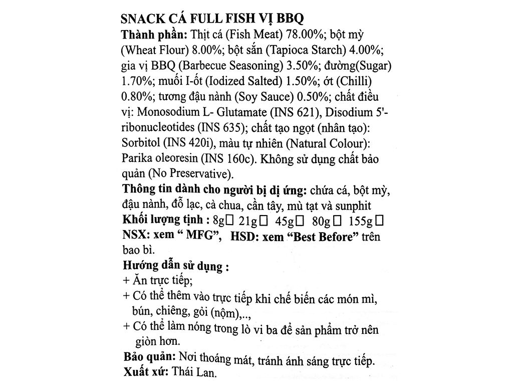 Snack Cá Full Fish vị BBQ gói 45g 3