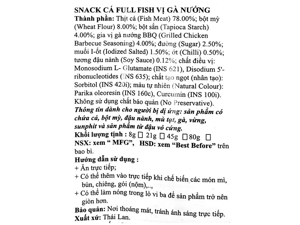 Snack Cá Full Fish vị gà nướng gói 45g 3
