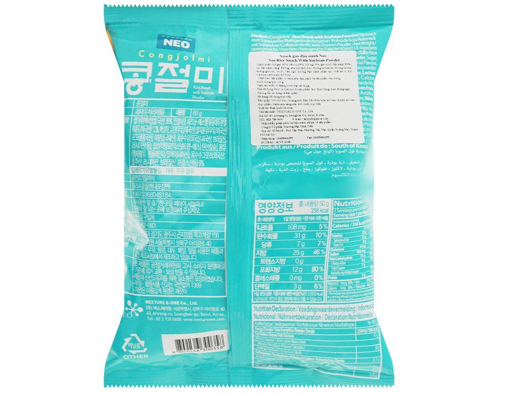 Snack gạo đậu nành Neo gói 60g 2