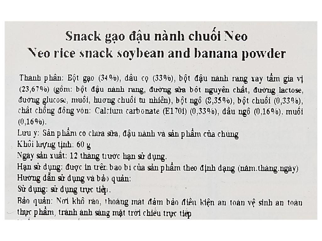Snack gạo đậu nành chuối Neo gói 60g 3