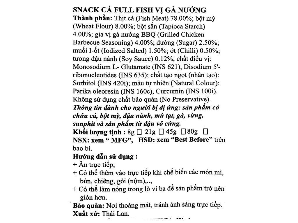 Snack Cá Full Fish vị gà nướng gói 21g 3