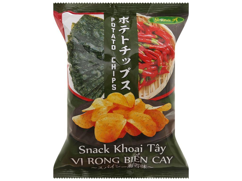 Snack khoai tây vị rong biển cay Green's A gói 44g 1