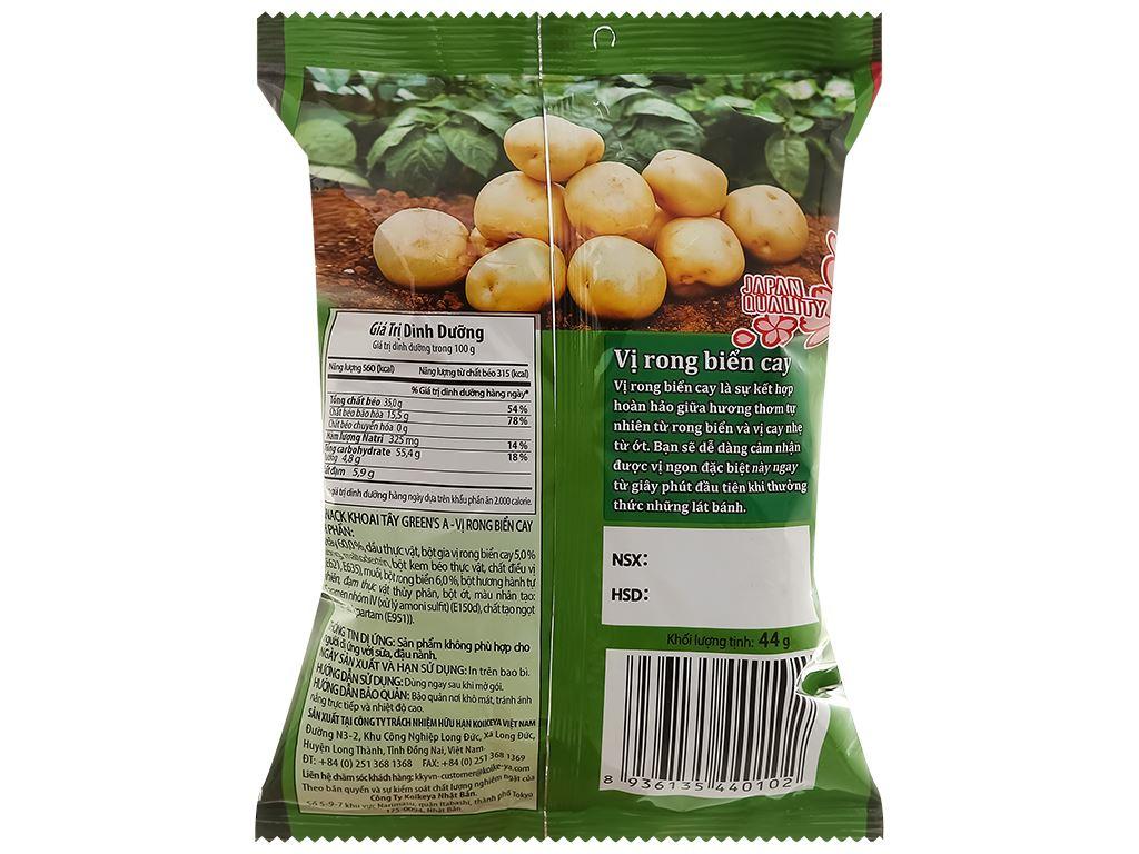 Snack khoai tây vị rong biển cay Green's A gói 44g 2