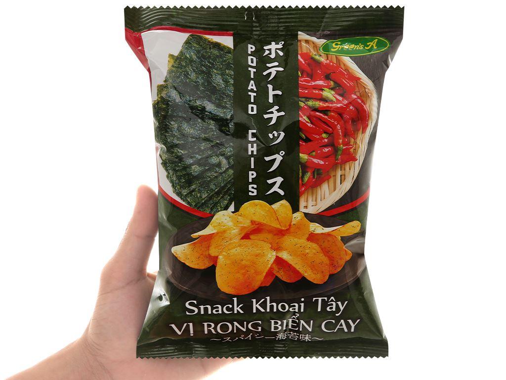 Snack khoai tây vị rong biển cay Green's A gói 44g 5