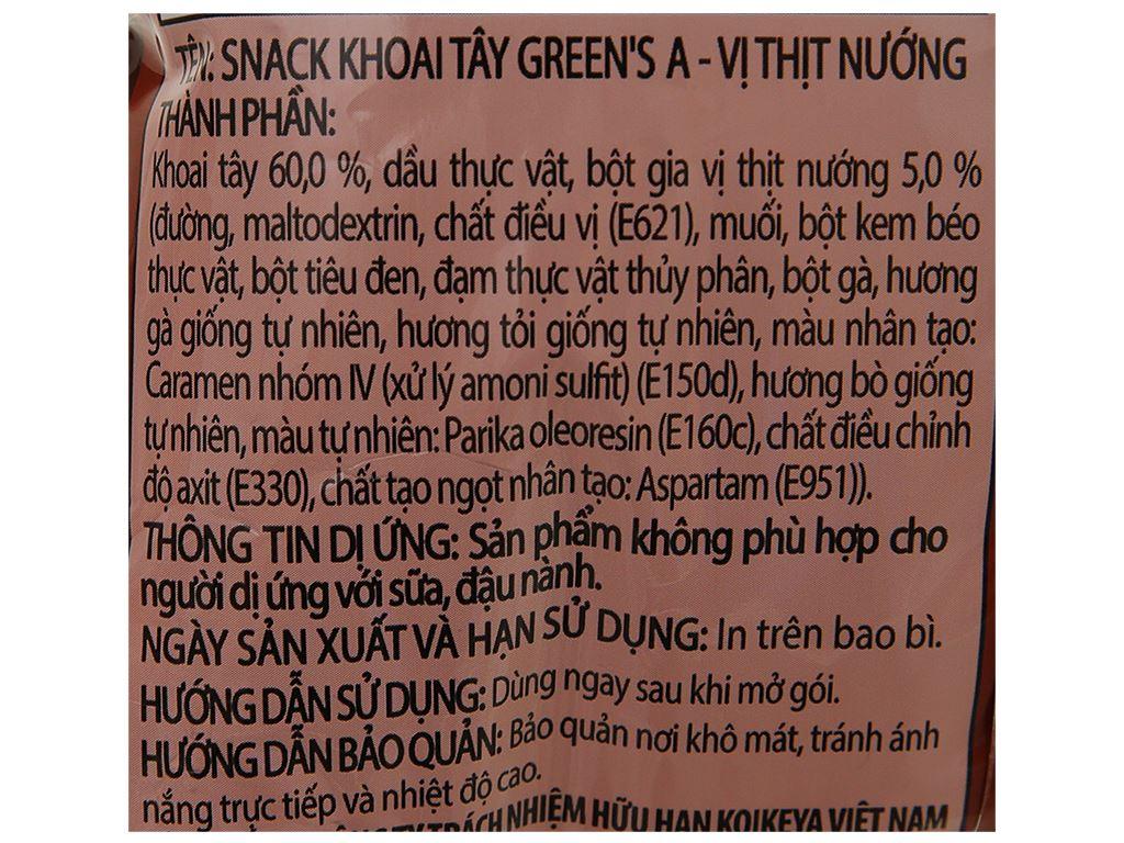 Snack khoai tây Green's A vị thịt nướng gói 44g 4