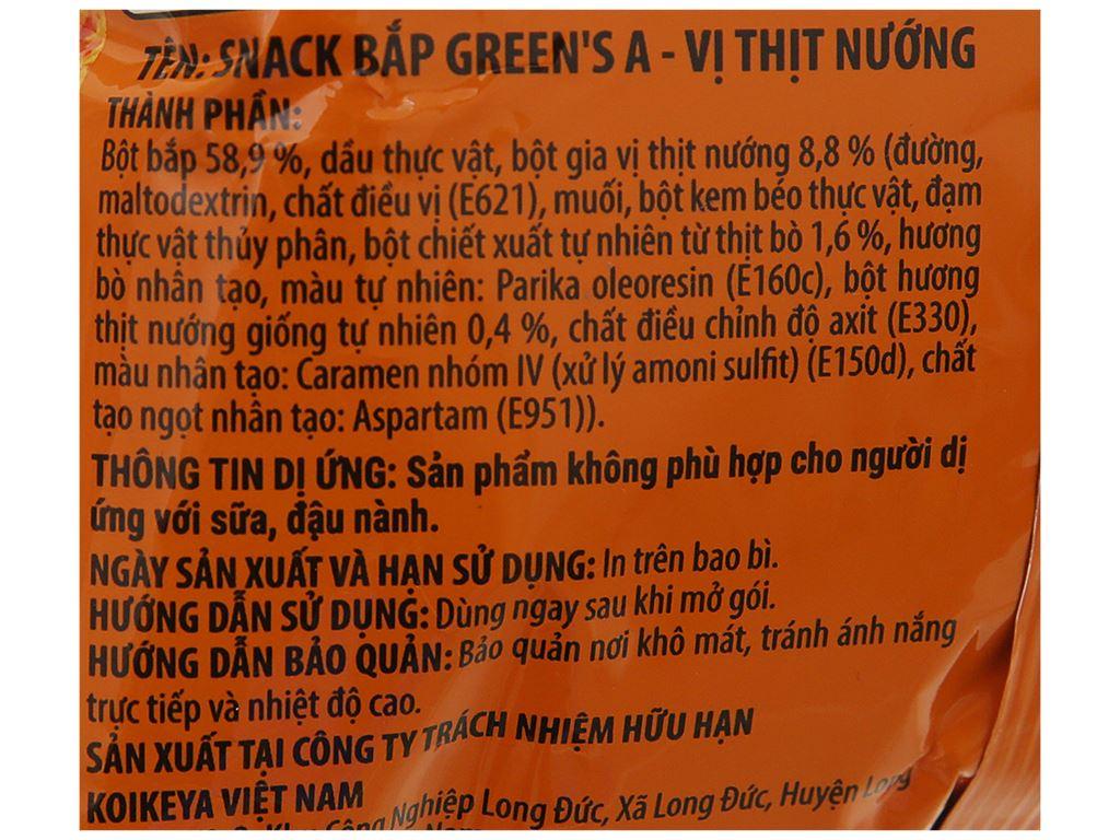 Snack bắp vị thịt nướng Green's A gói 36g 4