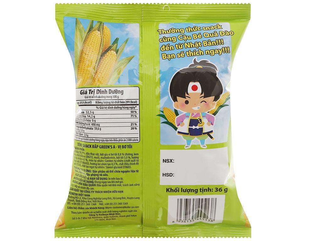Snack bắp Green's A vị bơ tỏi gói 36g 2
