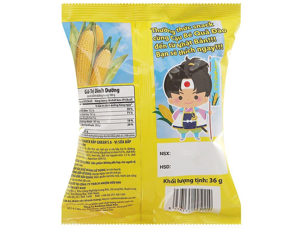 Snack bắp Green's A vị sữa bắp gói 36g 2