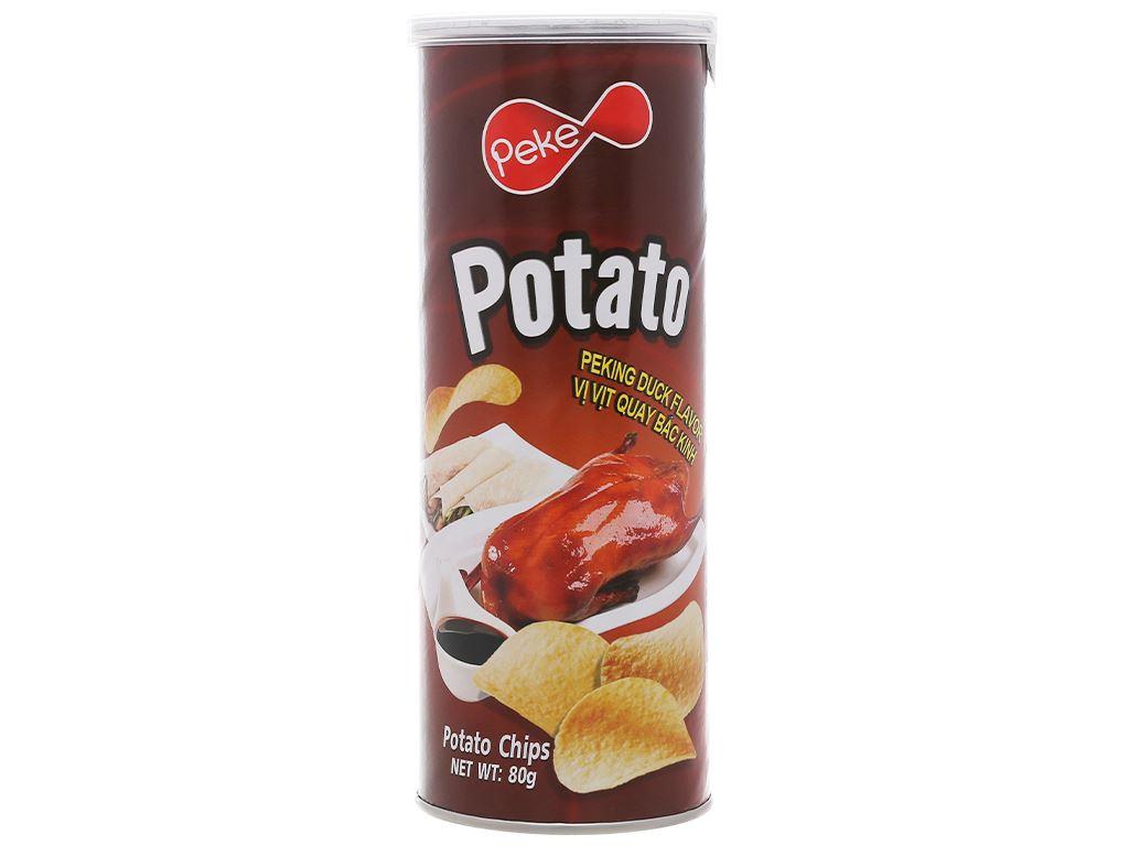 Snack khoai tây vị vịt quay bắc kinh Peke Potato Chips lon 80g 1