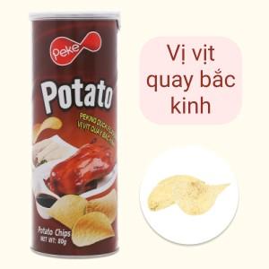 Snack khoai tây vị vịt quay bắc kinh Peke Potato Chips lon 80g