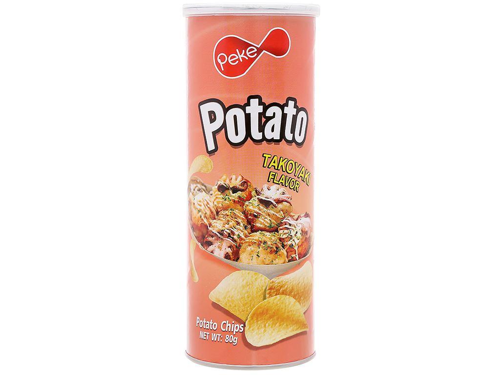 Snack khoai tây vị takoyaki Peke Potato Chips lon 80g 1