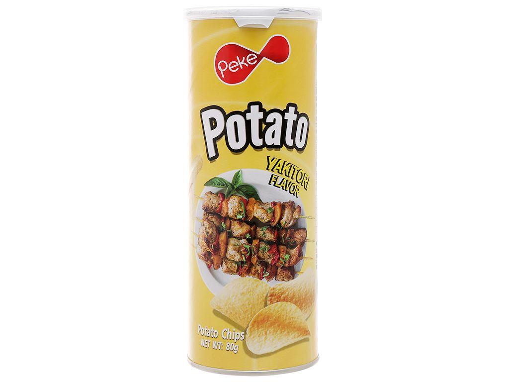 Snack khoai tây vị yakitori Peke Potato Chips lon 80g 1