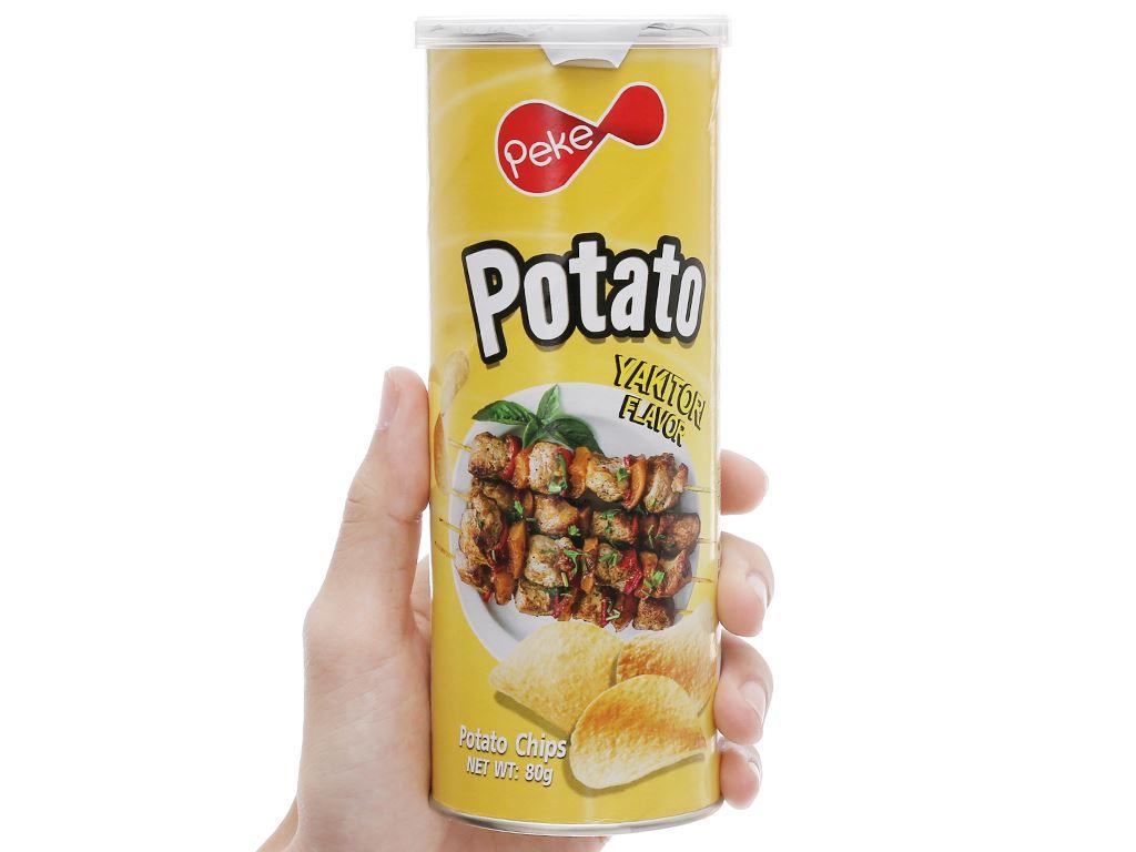 Snack khoai tây vị yakitori Peke Potato Chips lon 80g 7