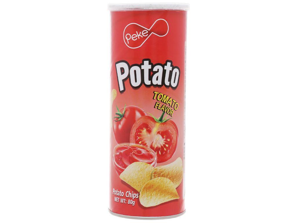 Snack khoai tây vị cà chua Peke Potato Chips lon 80g 1