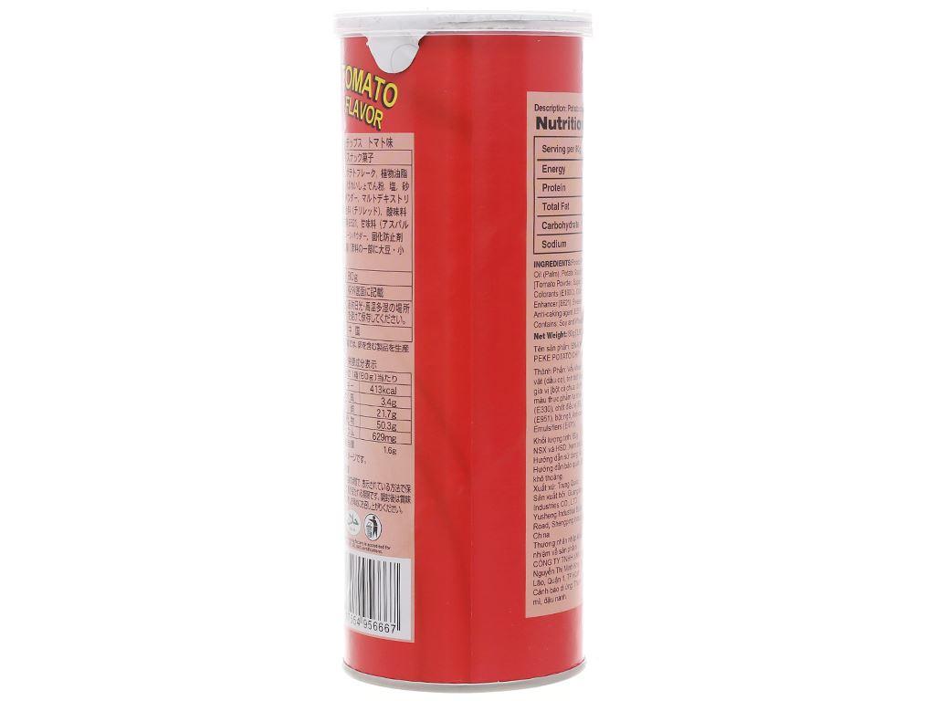 Snack khoai tây vị cà chua Peke Potato Chips lon 80g 2