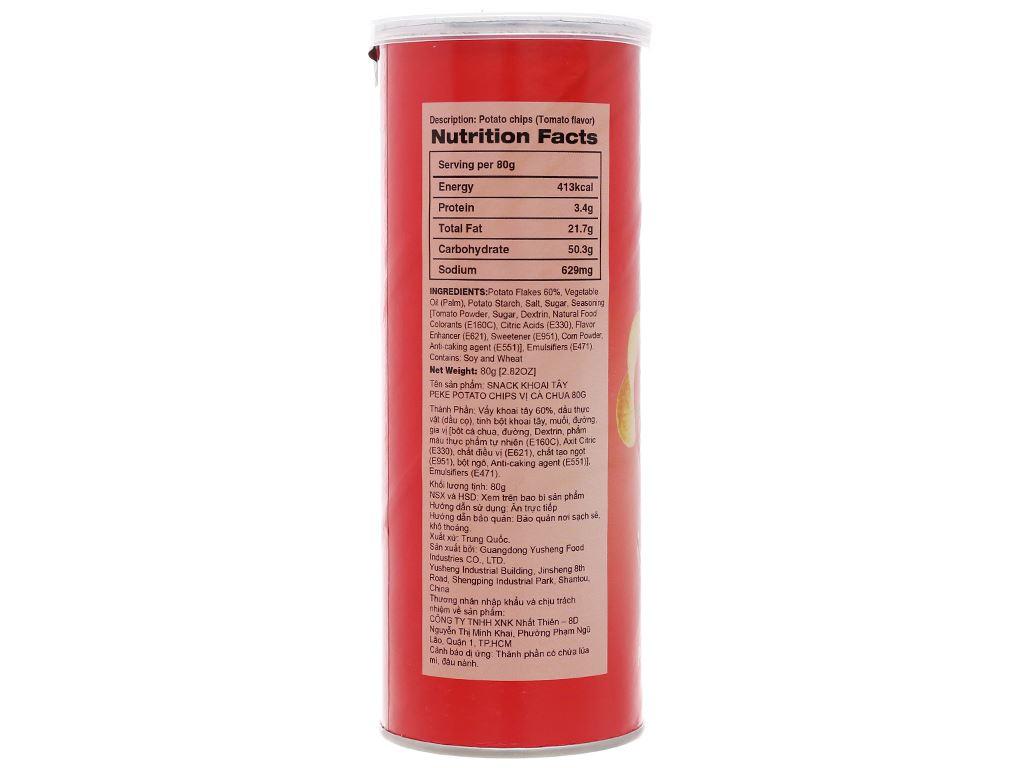 Snack khoai tây vị cà chua Peke Potato Chips lon 80g 4