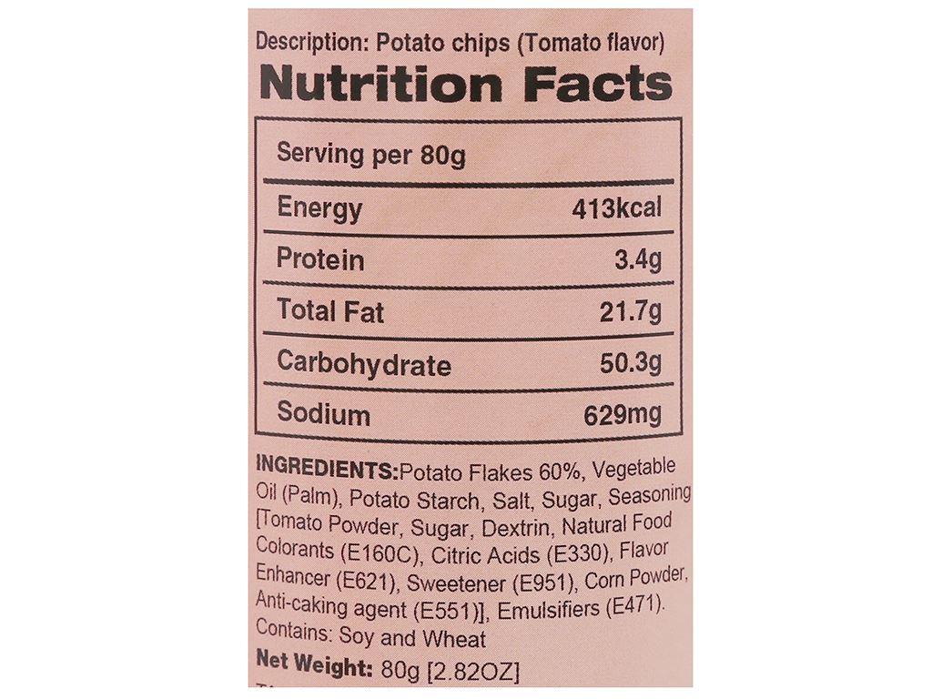 Snack khoai tây vị cà chua Peke Potato Chips lon 80g 5