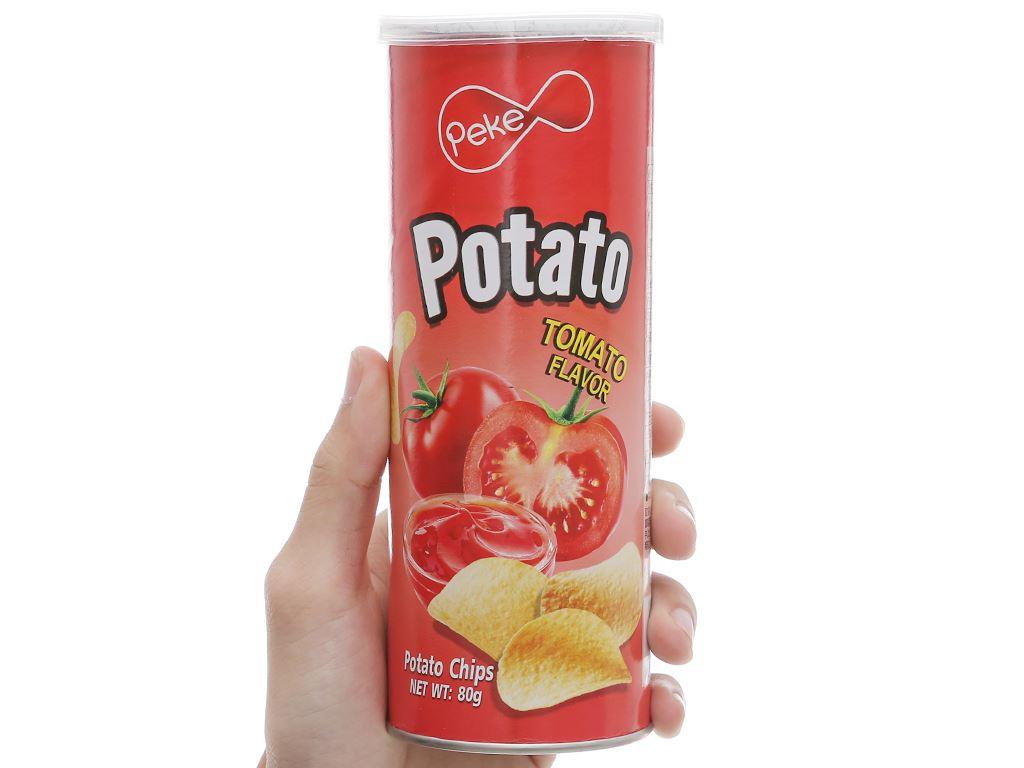Snack khoai tây vị cà chua Peke Potato Chips lon 80g 7