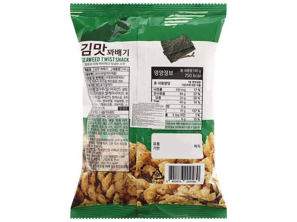 Snack quẩy xoắn vị rong biển Dong Hwa gói 140g 2