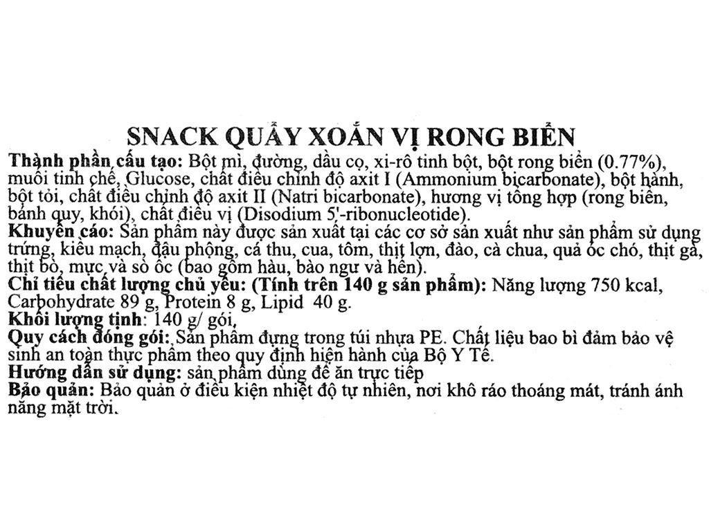 Snack quẩy xoắn vị rong biển Dong Hwa gói 140g 3