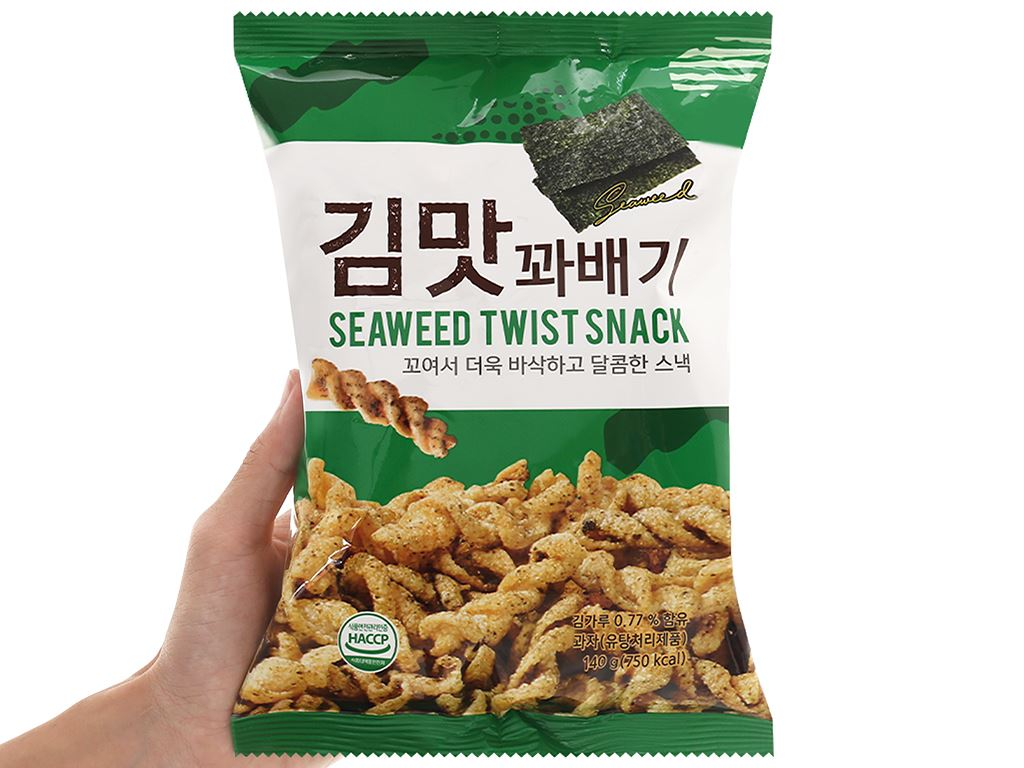 Snack quẩy xoắn vị rong biển Dong Hwa gói 140g 4