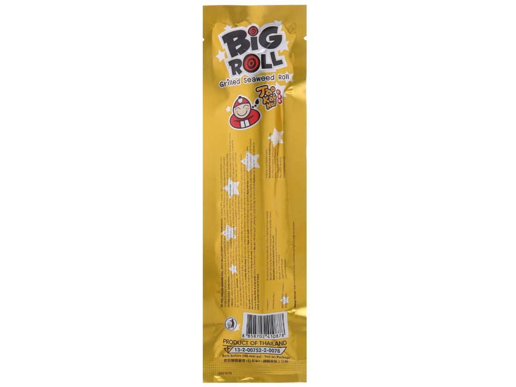 Snack rong biển vị mực Tao Kae Noi Big Roll gói 3.6g 3