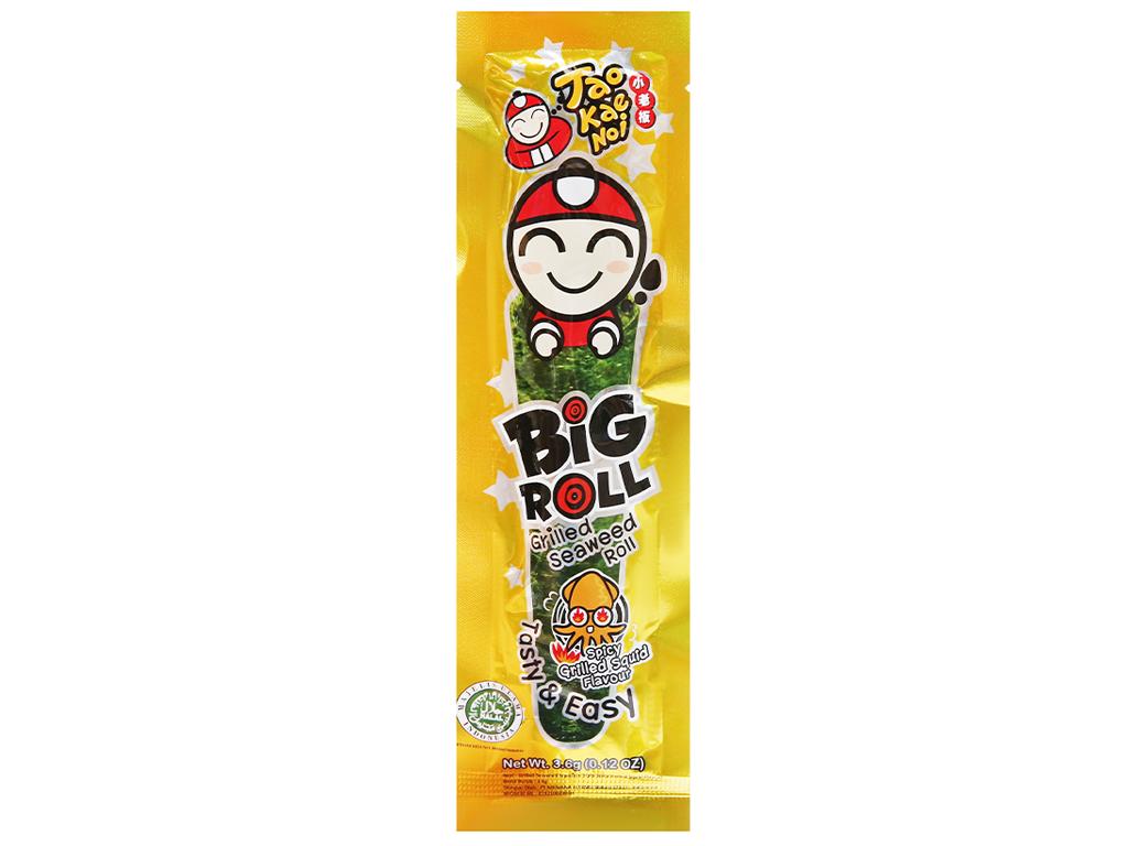 Snack rong biển vị mực Tao Kae Noi Big Roll gói 3.6g 6