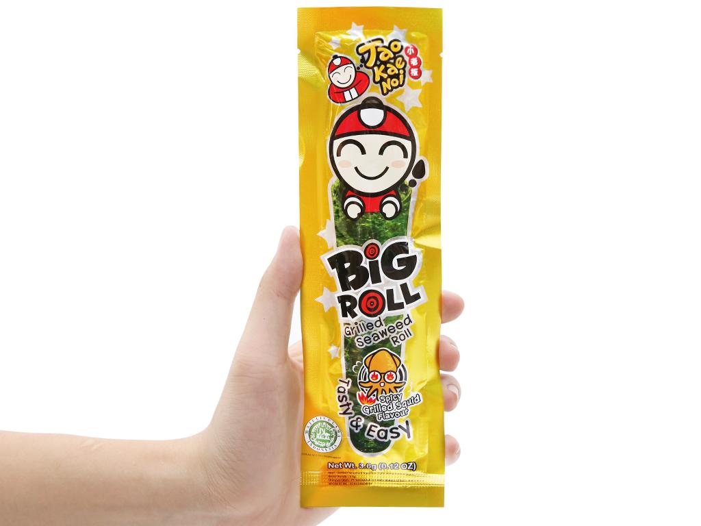 Snack rong biển vị mực Tao Kae Noi Big Roll gói 3.6g 9
