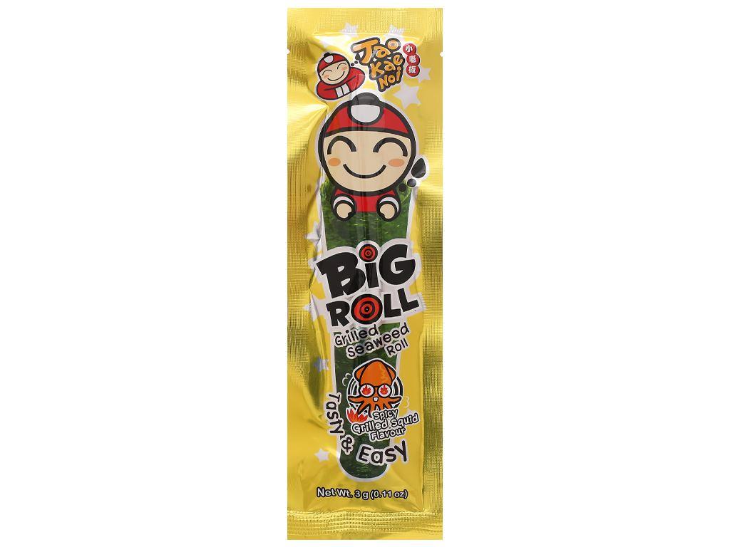 Snack rong biển vị mực Tao Kae Noi Big Roll gói 3g 11