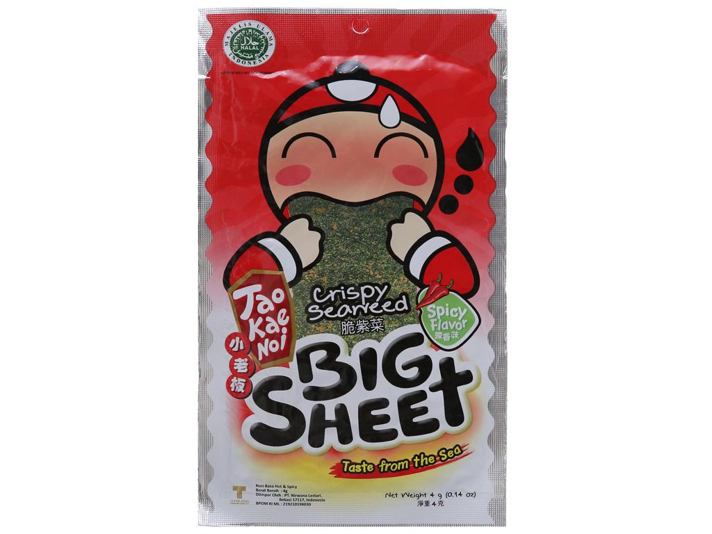 Snack rong biển giòn Tao Kae Noi Big Sheet Vị cay 4g 1