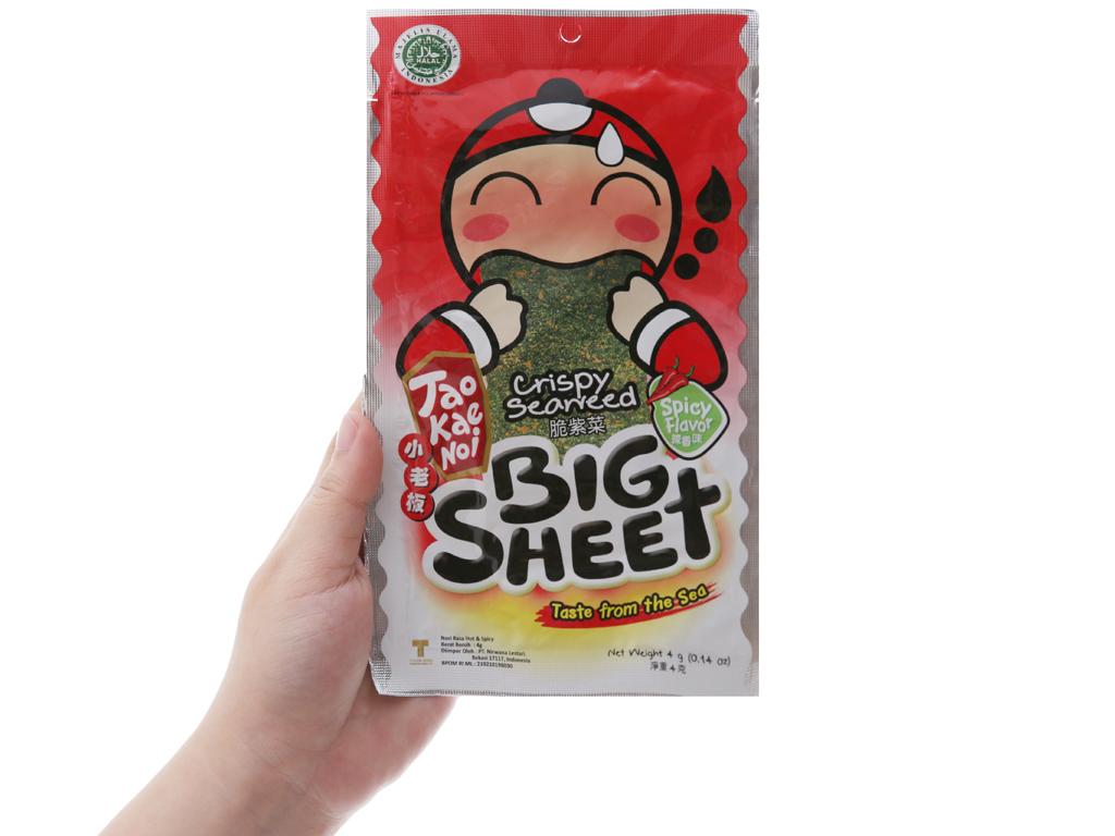 Snack rong biển giòn Tao Kae Noi Big Sheet Vị cay 4g 3