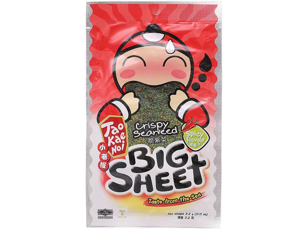 Snack rong biển giòn vị cay Tao Kae Noi Big Sheet gói 3.2g 6
