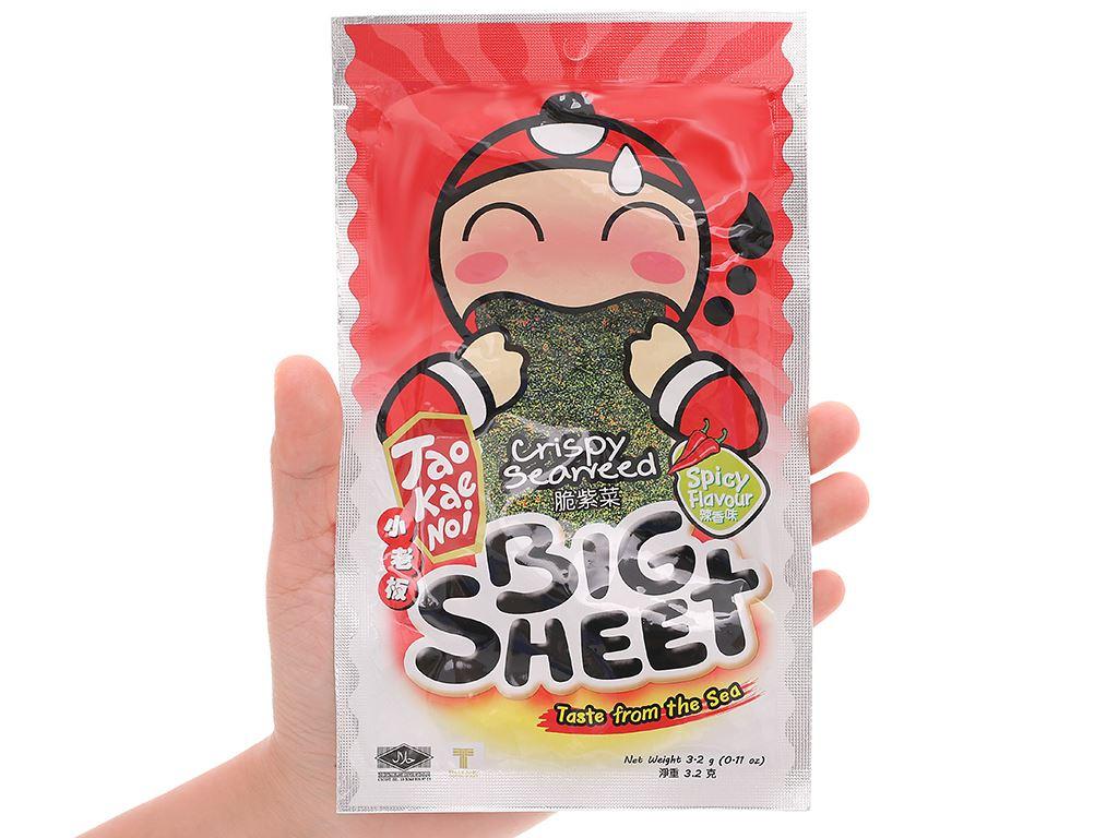 Snack rong biển giòn vị cay Tao Kae Noi Big Sheet gói 3.2g 9