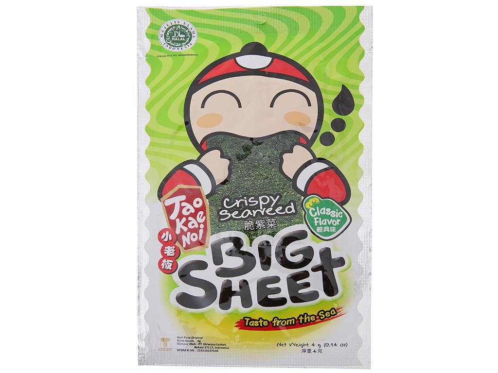 Snack rong biển vị truyền thống Tao Kae Noi Big Sheet gói 4g 2