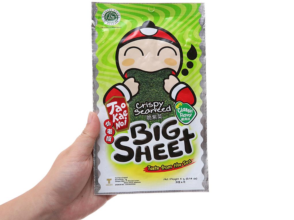 Snack rong biển vị truyền thống Tao Kae Noi Big Sheet gói 4g 4