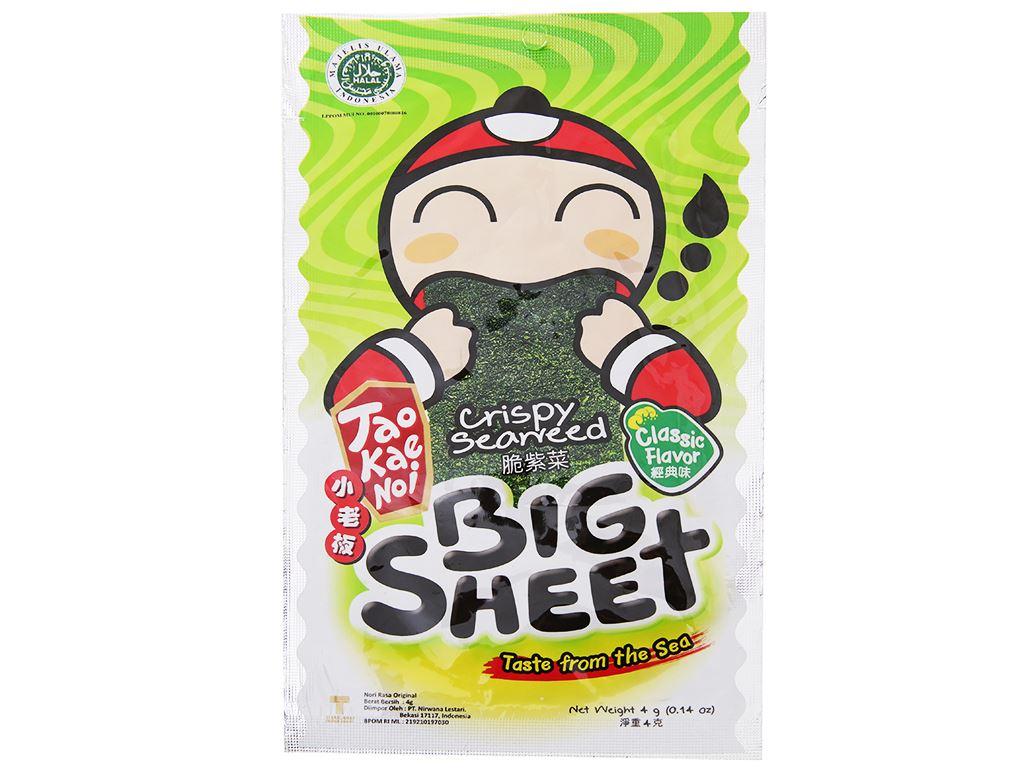 Snack rong biển vị truyền thống Tao Kae Noi Big Sheet gói 3.2g 2
