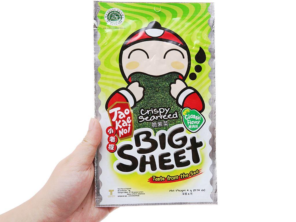 Snack rong biển vị truyền thống Tao Kae Noi Big Sheet gói 3.2g 4