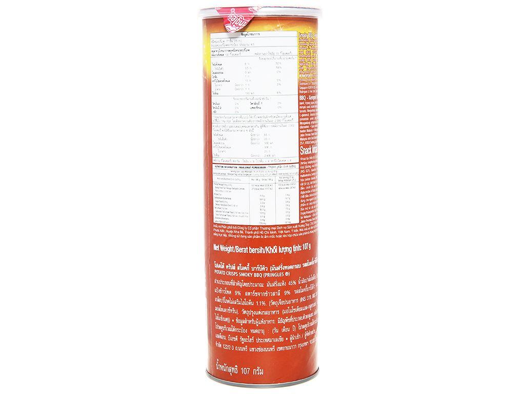 Snack khoai tây vị smoky bbq Pringles lon 107g 3