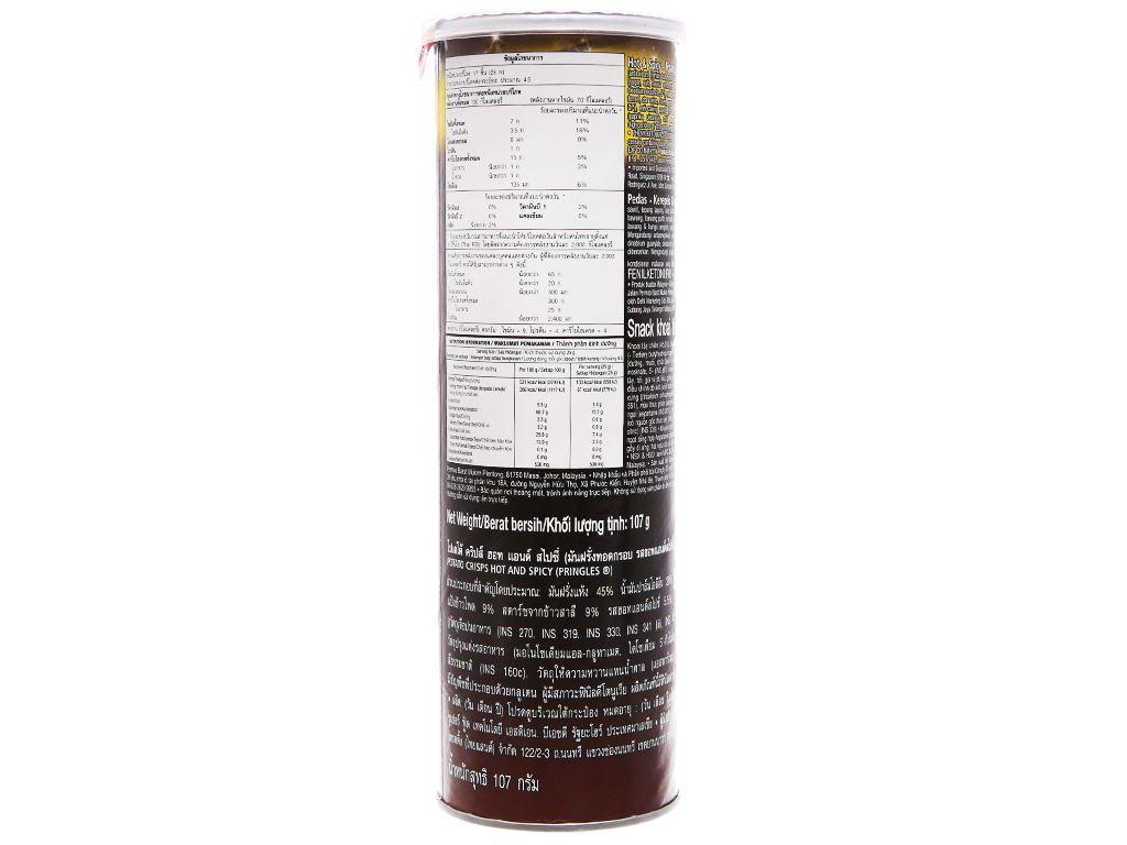 Snack khoai tây vị cay đặc biệt Pringles lon 107g 3