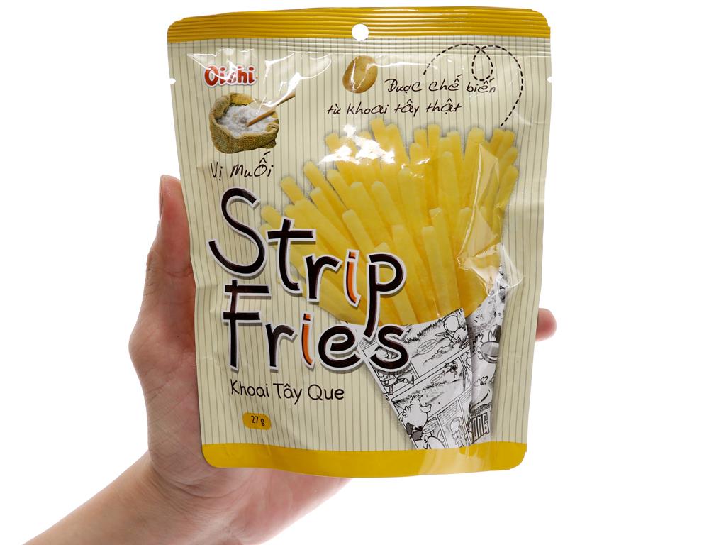 Snack khoai tây que vị muối Oishi Strip Fries gói 27g 3