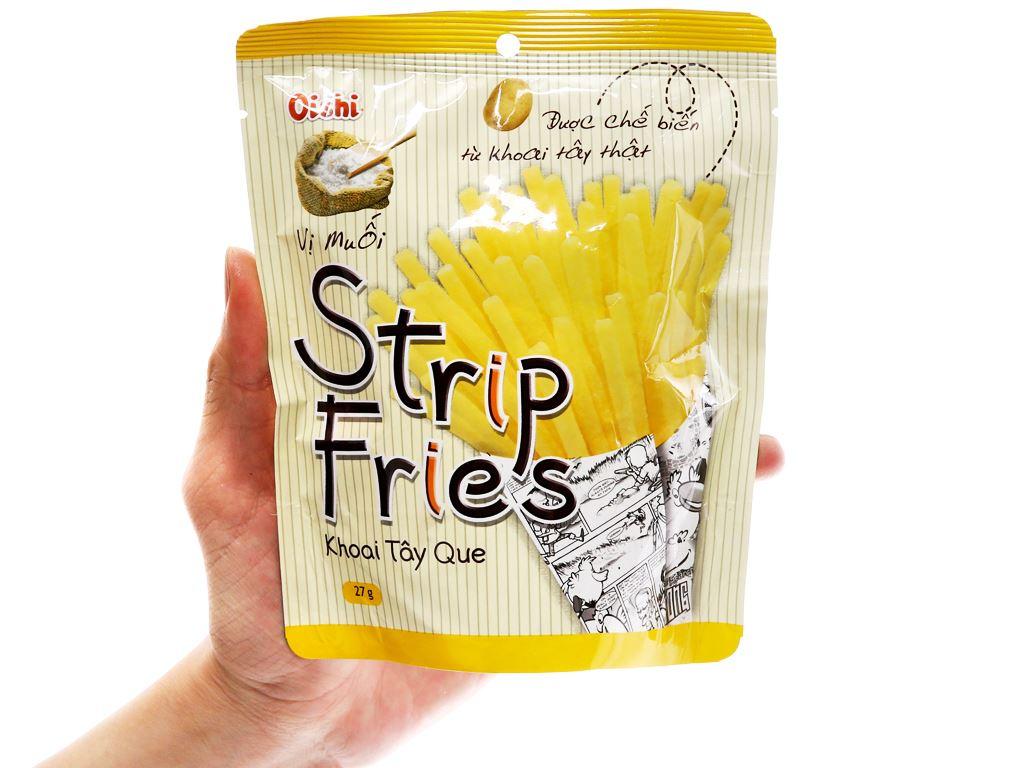 Snack khoai tây que vị muối Oishi Strip Fries gói 27g 4